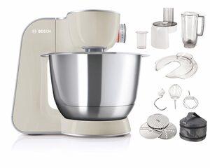 BOSCH Küchenmaschine MUM5 CreationLine MUM58L20, 1000 W, vielseitig einsetzbar, Durchlaufschnitzler, 3 Reibescheiben, Mixer, grau/silber