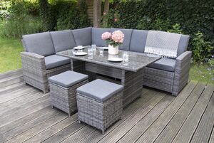 bellavista - Home&Garden® Loungeset »Aluminum Ecklounge Trentino - Linus grau von bella«, (Set, 21-tlg), Aluminium Lounge, rechts Sofa: 175x73,5x83cm, links Sofa: 192,5x73,5x833cm, Tisch: 140x75x6