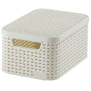 Best Freizeitmöbel Aufbewahrungsboxen Curver Style 3-er Set Creme S mit Deckel