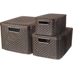Best Freizeitmöbel Aufbewahrungsboxen Curver Style 3-er Set Dunkelbraun S+M+L
