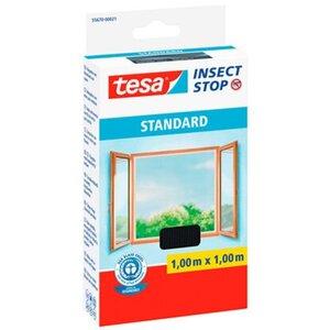 Tesa Insect Stop Fliegengitter Standard mit Klettband 100 cm x 100 cm Anthrazit