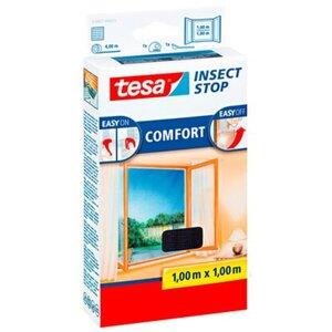 Tesa Fliegengitter Fenster mit Klettband Comfort  Anthrazit 100 cm x 100 cm