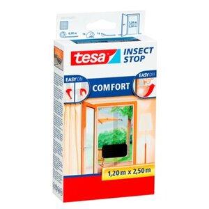 Tesa Fliegengitter Tür mit Klettband Comfort Anthrazit 250 cm x 120 cm
