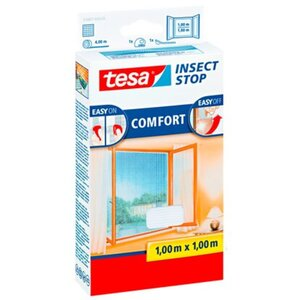 Tesa Fliegengitter Fenster mit Klettband Comfort Weiß 100 cm x 100 cm
