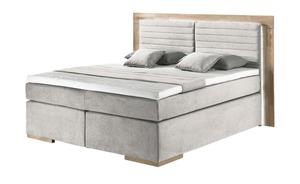 uno Massivholz-Boxspringbett mit LED-Beleuchtung - beige - 210 cm - 130 cm - Betten