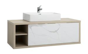 Waschtischkombination - weiß - 122,8 cm - 54,7 cm - 50,9 cm - Schränke