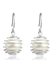 Elli Paar Ohrhänger Perlen Spirale Geo Muschelkernperle 925 Silber