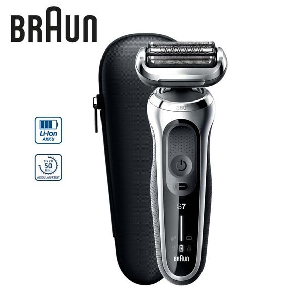 Rasierer Series 7 70-S7200CC • 100% wasserdicht • für Trocken- und Nassrasur • 360°-Anpassung für eine glatte Rasur • Auto-Sense-Technologie: Anpassung der Motorleistung an die Bartdichte