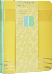 IDEENWELT 3er-Set Notizbuch A6, Gelb/Blau/Grün