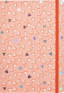 IDEENWELT 2er-Set Notizbuch A5 mit Gummizug, blau/Herzen