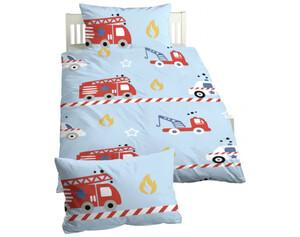 Baumwoll Kinder-Bettwäsche Linon Feuerwehrauto rot/hellblau 100 x 135 cm