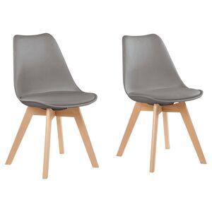 LIVING STYLE Design-Stühle, 2 Stück, Grau
