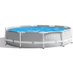 Intex Schwimmbad Frame Pool Set Prism Rondo, Ø 305cm x 76cm, Grau