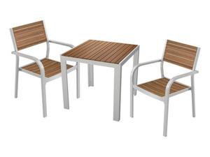FLORABEST Alu/Holz-Set, 3-teilig - Gartentisch 75 x 75 cm und 2 Stapelstühle
