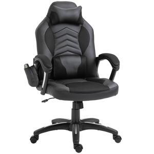HOMCOM Bürostuhl Massagesessel Gaming Stuhl Wärmefunktion 6 Vibrationspunkte PolyurethanSchwarz 68 x 69 x 108-117cm
