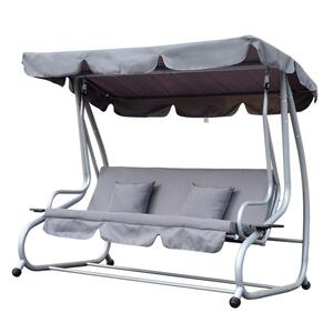 Outsunny Hollywoodschaukel Gartenschaukel 3-Sitzer Liegefunktion Stahl Grau 200x120x164cm