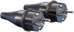 Vollgummi Stecker - 2 Stück mit Schutzkontakt IP44 - rot