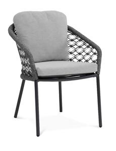 BEST Mali Dining-Sessel, anthrazit/grau, Alu/Makramee-Geflecht/Sunbrella, 75 x 62 x 83 cm, inkl. Kissen