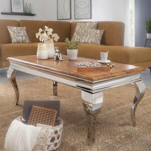 WOHNLING Couchtisch 110x45,5x60 cm Wohnzimmer Modern Sheesham Massivholz   Design Wohnzimmertisch mit Metallbeinen   Sofatisch Loungetisch Rechteckig
