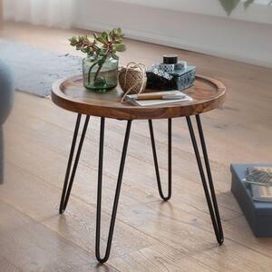 WOHNLING Couchtisch Sheesham Massivholz 45x40x45 cm Wohnzimmertisch Rund   Sofatisch mit Haarnadelbeine   Kaffeetisch aus Holz und Metall