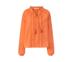 Tunikabluse mit Lochstickerei, orange