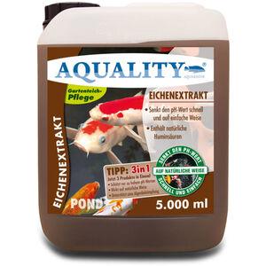 Gartenteich Eichenextrakt 3in1 (Senkt schnell den pH-Wert - Enthält natürliche Huminsäuren - Unterstützt die Algenbekämpfung) 5 Liter - Aquality
