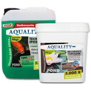 AQUALITY Klarwasser Teichpflege-Komplettset (GRATIS Versand in DE - Set mit Teichklärer und Wasserwerte Stabilisator für einen klaren Gartenteich,