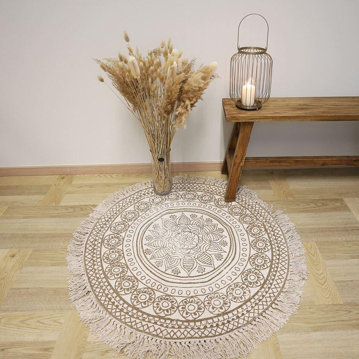 Bild 2 von Boho-Teppich mit Fransen 90cm Natur/Beige