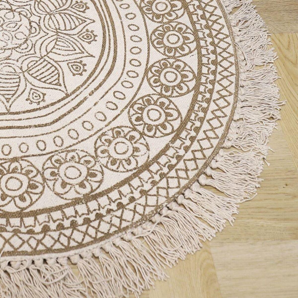 Bild 3 von Boho-Teppich mit Fransen 90cm Natur/Beige