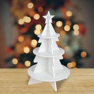 Deko-Etagere Weihnachtsbaum aus Holz 36x60x36cm Weiß