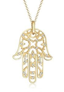 Elli Collierkettchen Hamsa Hand der Fatima Kristalle 925 Silber
