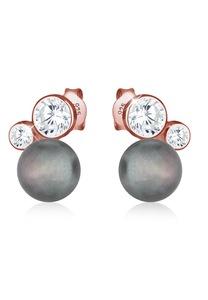 Elli Paar Ohrstecker Süßwasserzuchtperle Zirkonia 925 Silber ROSÉGOLD