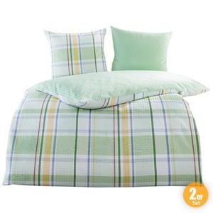 Dreamtex Seersucker-Baumwoll-Bettwäsche, je ca. 200 x 200 cm - Green Checks, 2er-Set