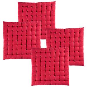 Casa Royale XXL-Baumwoll-Sitzkissen, Chili Red - 4er-Set