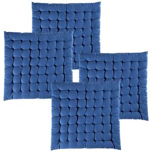 Casa Royale XXL-Baumwoll-Sitzkissen, Jeansblau - 4er-Set