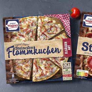 Original Wagner Steinofen-Pizza Salami oder Flammkuchen Elsässer Art gefroren, jede 360/300-g-Packung und weitere Sorten
