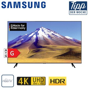 GU43TU6979 • 2 x HDMI, USB, CI+ • integr. Kabel-, Sat- und DVB-T2-Receiver • Maße: H 55,8 x B 96,3 x T 5,9 cm • Energie-Effizienz G (Spektrum A bis G) nach neuer Verordnung, Bildschirmd