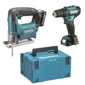 Makita Akku-Werkzeug-Set 'CLX237SAJ' mit Bohrschrauber 'DF333DZ' und Stichsäge 'JV101DZ', 6-teilig