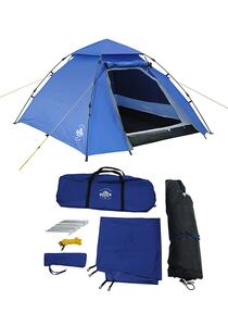Lumaland Outdoor Pop Up Kuppelzelt Wurfzelt 3 Personen 215 x 195 x 120 cm Outdoor Ausrüstung - Blau