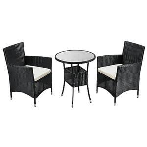 Juskys Polyrattan Balkon Set Bayamo 3-teilig für 2 Personen – Balkonmöbel mit Tisch & 2 Stühlen