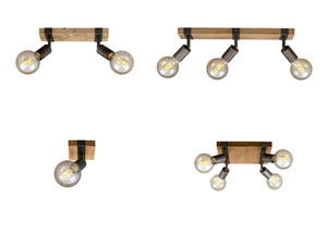 Briloner Wand- Deckenleuchte Vintage Holz, verschiedene Ausführungen