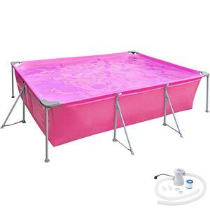 Swimming Pool rechteckig mit Filterpumpe 300 x 207 x 70 cm pink
