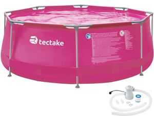 Swimming Pool rund mit Stahlrahmen und Filterpumpe pink Ø 300 x...