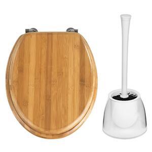 Bambus WC-Sitz Dunkel – Nachhaltiger Toilettensitz mit Edelstahlbefestigung, inklusive WC-Bürste weiß/transparent