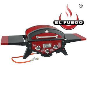 El Fuego Gasgrill / Tischgrill Medison rot Grillfläche 49x33,5cm