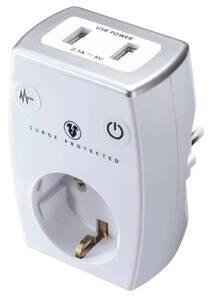 Steckdosen Ladeadapter mit 2 USB-Anschlüssen in weiß
