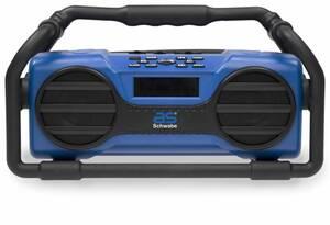 Baustellenradio FM550, blau, Spritzwasser, IP44, 2x5 Watt, Bluetooth CSR 4.0 mit 10m Reichweite