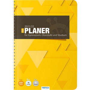 """Gymnasialplaner """"Dreieck 21/22"""", Din A5, 128 Seiten, Spiralbindung, gelb"""