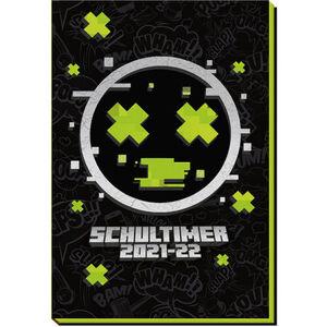 """Schülerkalender """"Flexi Gaming 21/22"""", 20 x 13,3 cm, 128 Seiten, schwarz/neongrün"""