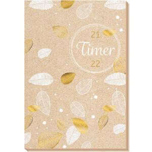 "Schülerkalender ""Flexi Nature 21/22"", 20 x 13,3 cm, 128 Seiten, beige/gold/weiß"